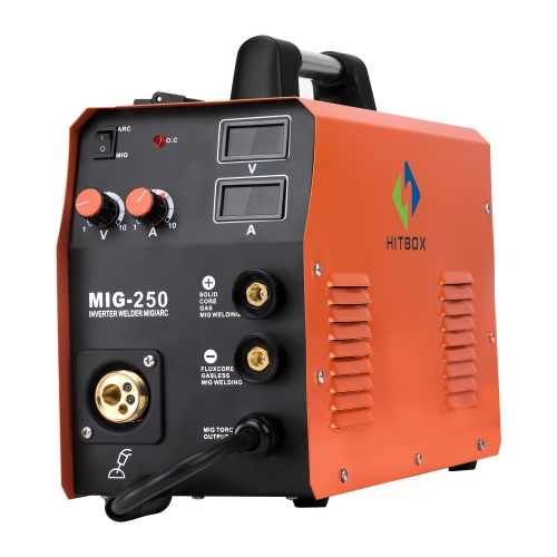 HITBOX Mig Welder MIG TIG ARC MIG250 Multi-Function Mig Welding Machine Gas No Gas Welder 220V Home Use Factory Machine