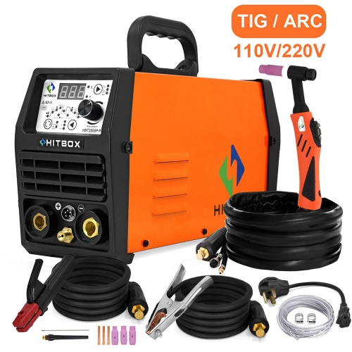 HITBOX Tig Welder Arc Tig Pulse TIG Dual 110V 220V Voltage 3 in 1 TIG200P Argon Welding Machine Inverter Welder