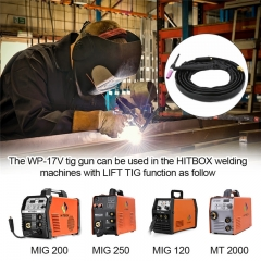 HITBOX TIG Welding Torch WP17V 13ft 4M Welder Torch 140A 150-Amp Air Cooled SR-17V TIG Welder Gun with Europe Plug for Lift TIG