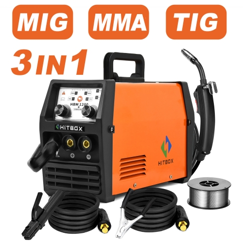 HITBOX Newly Updated Mig Welder MIG ARC TIG Synergy Control 220V Gas Gasless Welding Machine HBM1200 Inverter Welding Machines